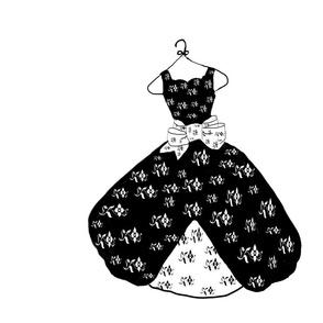 Black and white dress large print