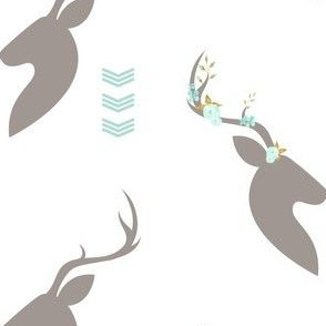 Floral Bucks  Chevron Detail in Aqua and Taupe