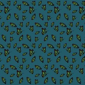 Nouveau Butterflies turquoise small