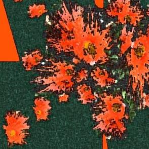 Gum tree flowers (orange on bottle green) by Su_G_©SuSchaefer