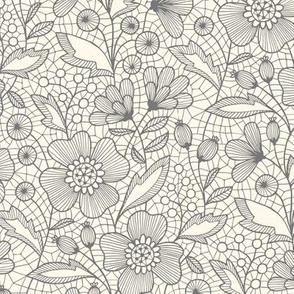 Floral lace (gray on off-white)
