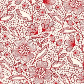 Floral lace (red on off-white)
