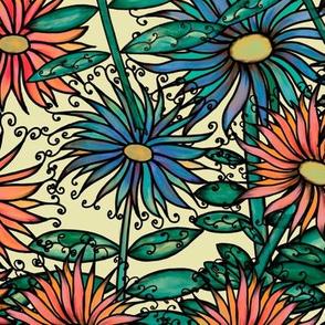 Summer botanics _yellow background