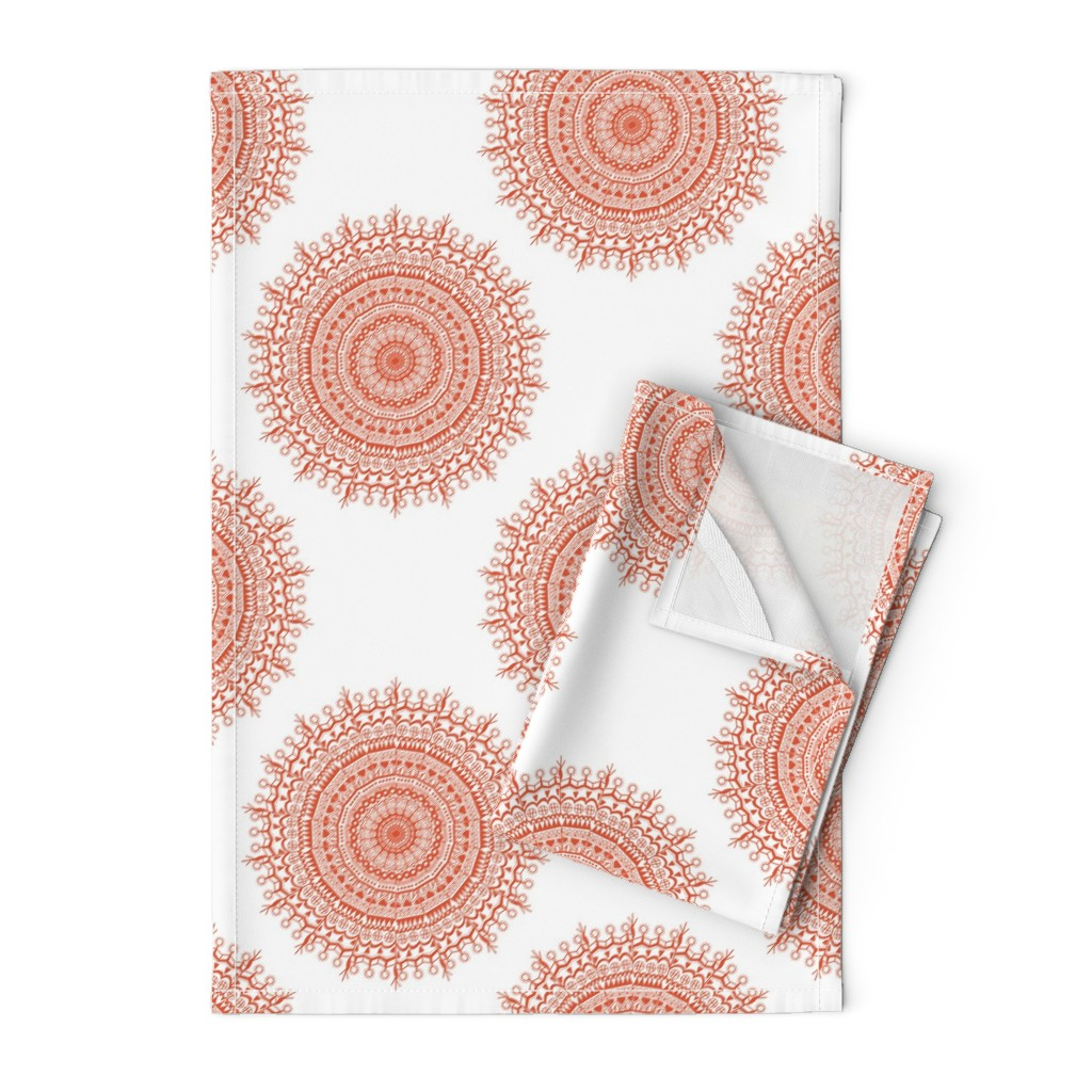 Orpington Tea Towels featuring Medallion White Coral by littlerhodydesign