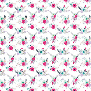 Modern_Blooms Large Scale Hot Pink Lavender Green Navy and Grey