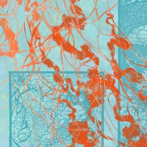 turquoise sea with orange jellies