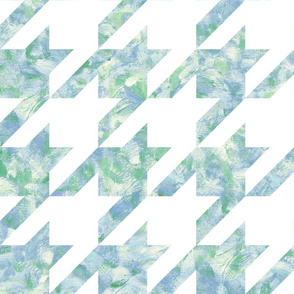 jumbo painted houndstooth - blue and green