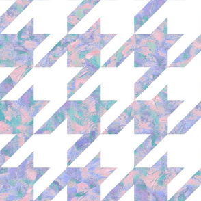 jumbo painted houndstooth - pink, purple and teal