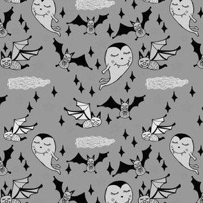 Vampire and Bats on Halloween in Gray Scale