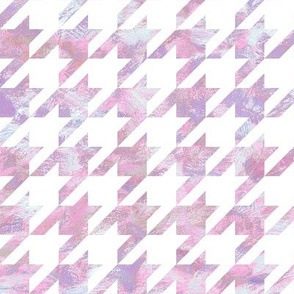 paint swirl houndstooth - pink and purple