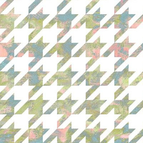 paint swirl houndstooth - olive, blue and pink