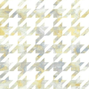 painted houndstooth - yellow and grey