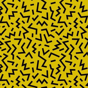 Cool geometric eighties retro confetti style memphis zigzag strokes yellow fall