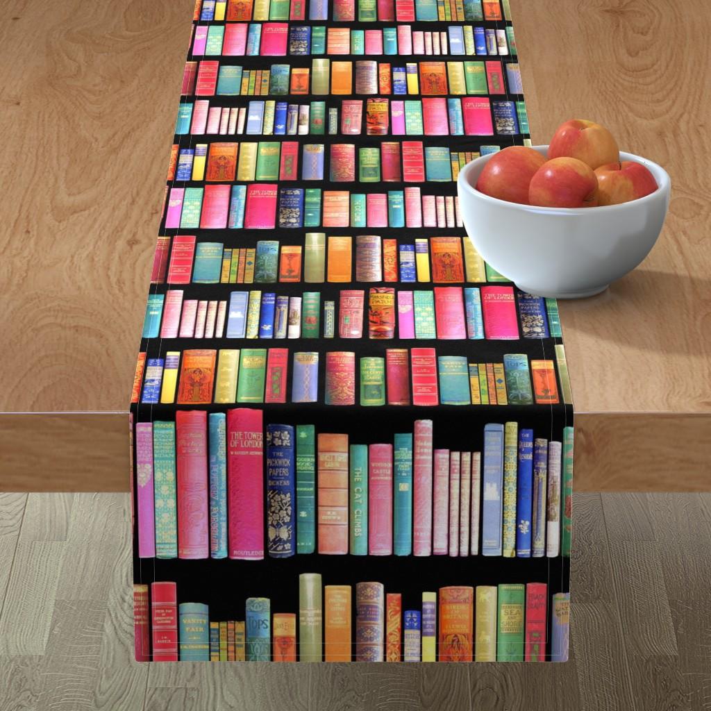 Minorca Table Runner featuring  Antique Books // Vintage Bookshelf/ victorian by magentarosedesigns