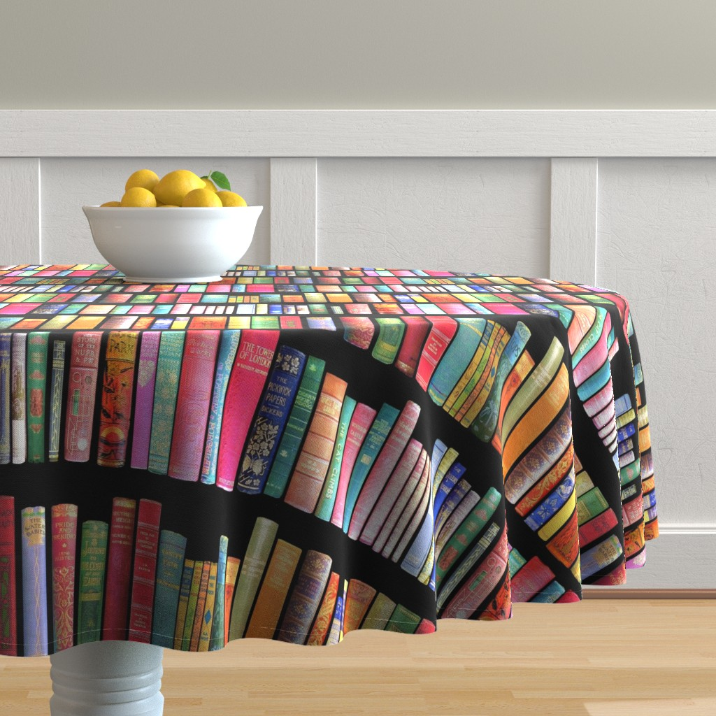 Malay Round Tablecloth featuring  Antique Books // Vintage Bookshelf/ victorian by magentarosedesigns