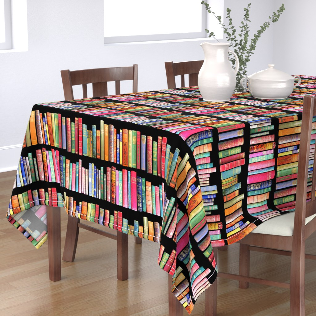 Bantam Rectangular Tablecloth featuring  Antique Books // Vintage Bookshelf/ victorian by magentarosedesigns