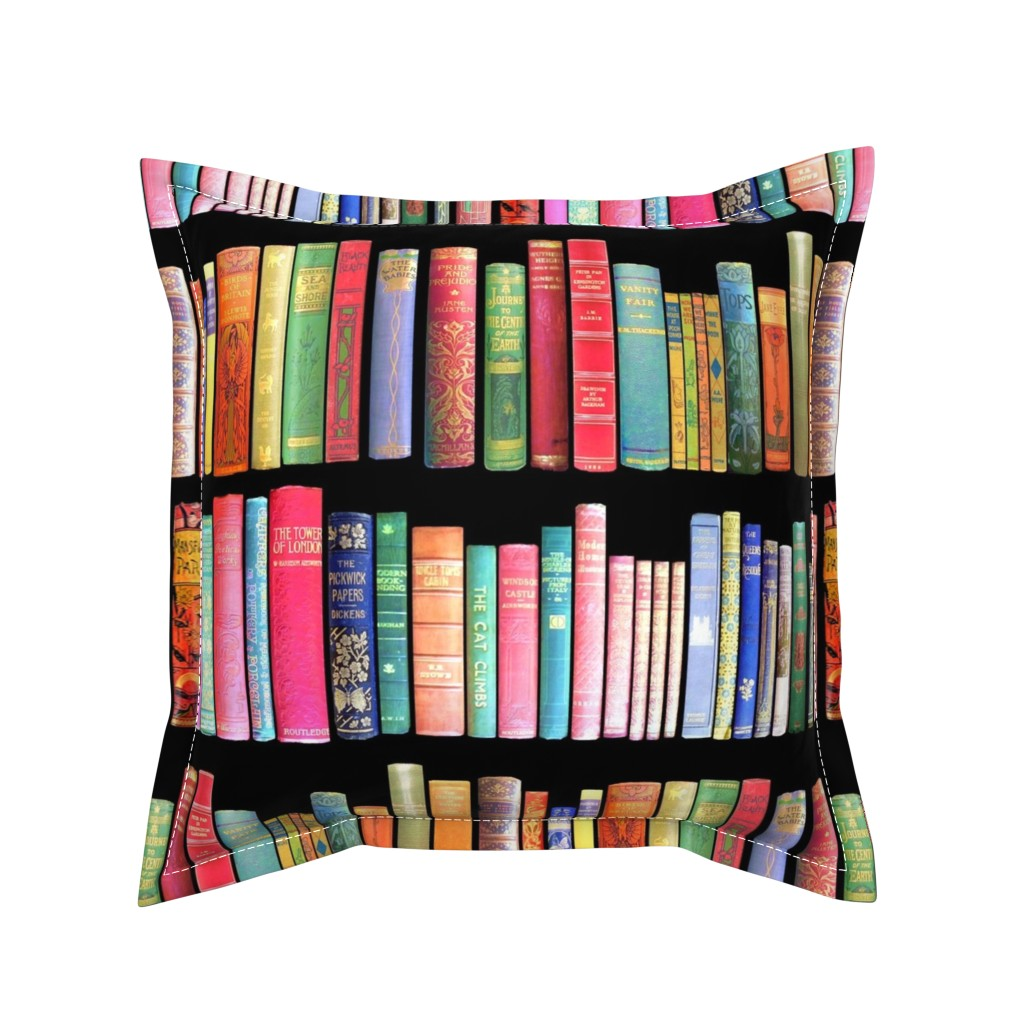 Serama Throw Pillow featuring  Antique Books // Vintage Bookshelf/ victorian by magentarosedesigns