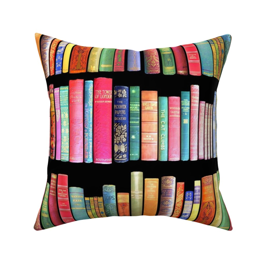 Catalan Throw Pillow featuring  Antique Books // Vintage Bookshelf/ victorian by magentarosedesigns