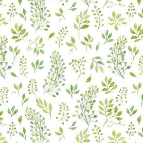 Green Watercolor Leaves Pattern