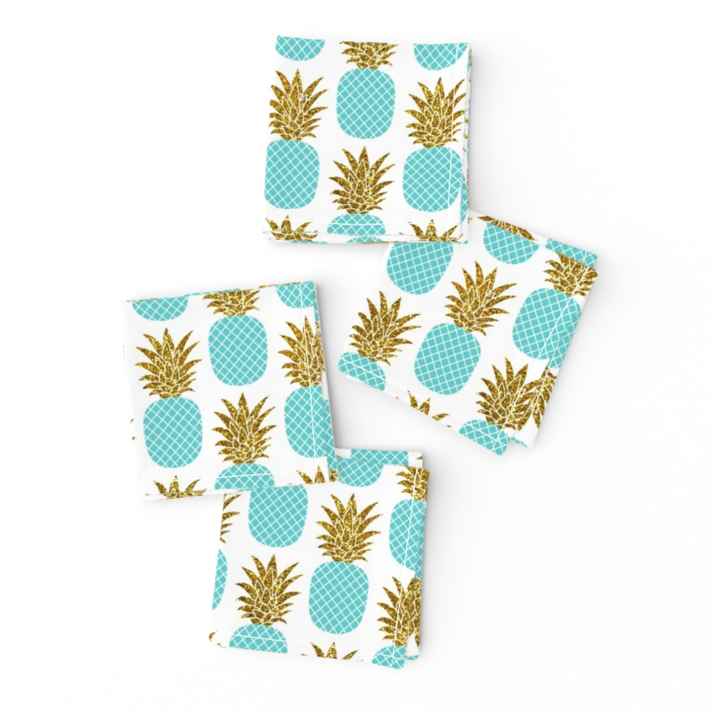 Frizzle Cocktail Napkins featuring gold glitter pineapples – gold and turquoise on white, small. pineapples faux gold imitation tropical white background hot summer fruits shimmering metal effect texture fabric wallpaper giftwrap by mirabelleprint