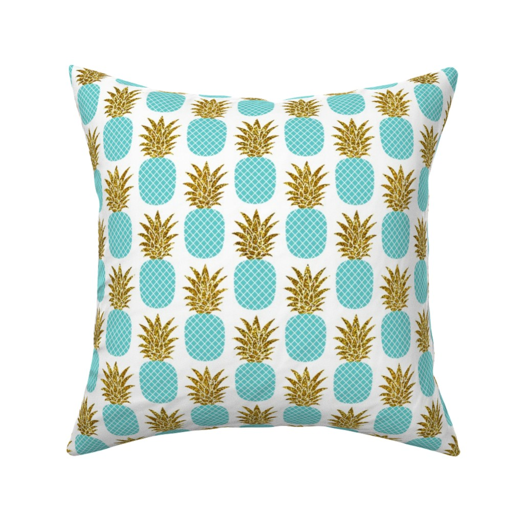 Catalan Throw Pillow featuring gold glitter pineapples – gold and turquoise on white, small. pineapples faux gold imitation tropical white background hot summer fruits shimmering metal effect texture fabric wallpaper giftwrap by mirabelleprint