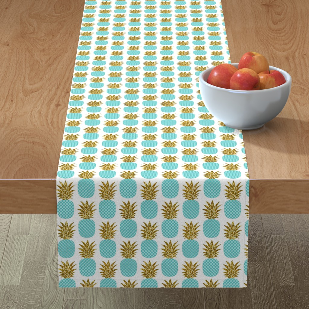 Minorca Table Runner featuring gold glitter pineapples – gold and turquoise on white, small. pineapples faux gold imitation tropical white background hot summer fruits shimmering metal effect texture fabric wallpaper giftwrap by mirabelleprint