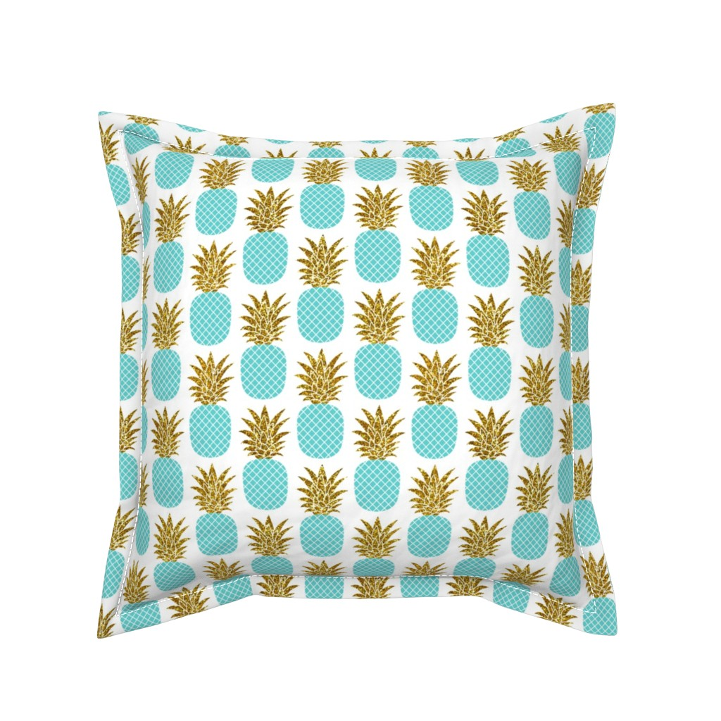 Serama Throw Pillow featuring gold glitter pineapples – gold and turquoise on white, small. pineapples faux gold imitation tropical white background hot summer fruits shimmering metal effect texture fabric wallpaper giftwrap by mirabelleprint