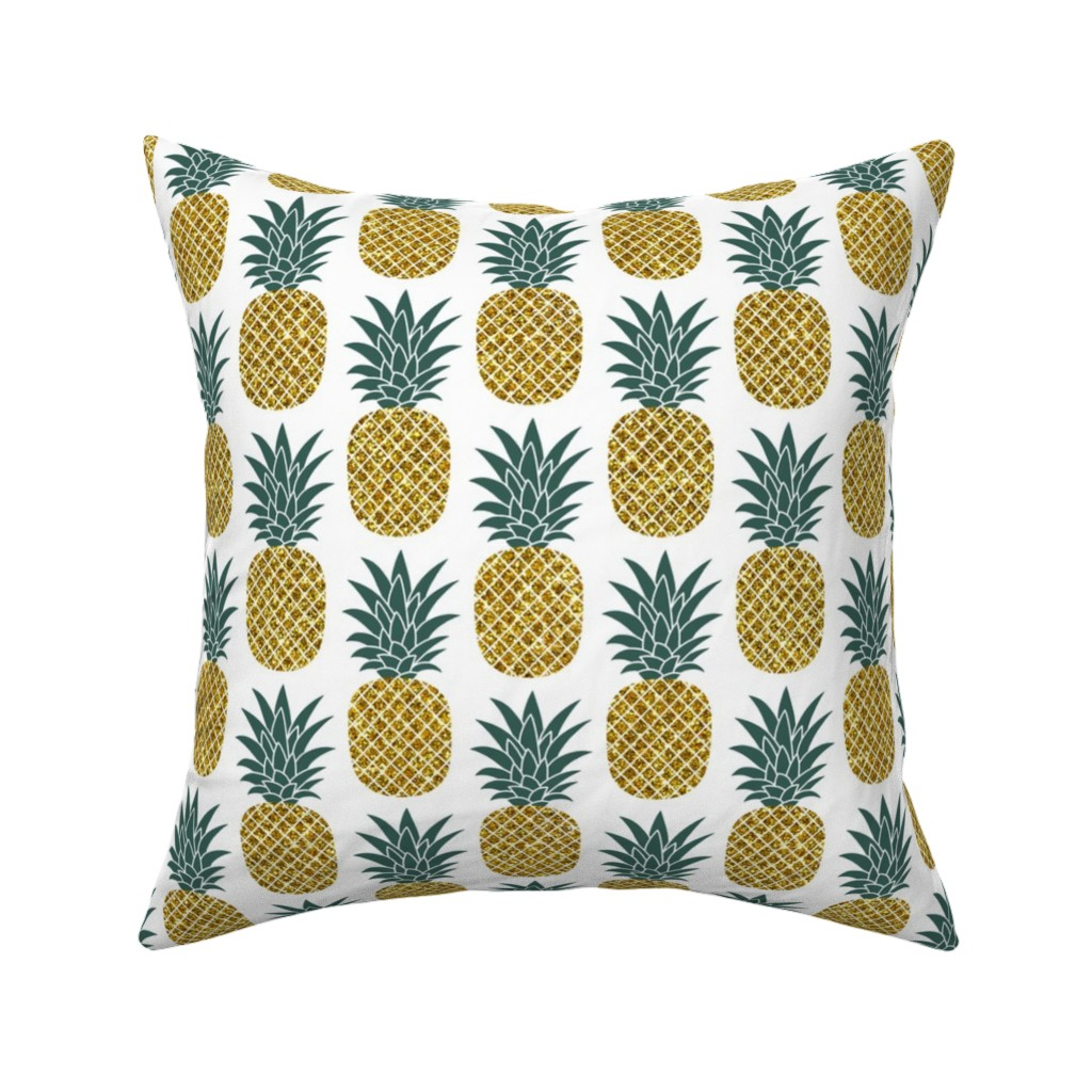 Catalan Throw Pillow featuring gold glitter pineapples – gold and jungle green on white, medium. pineapples faux gold imitation tropical white background hot summer fruits shimmering metal effect texture fabric wallpaper giftwrap by mirabelleprint