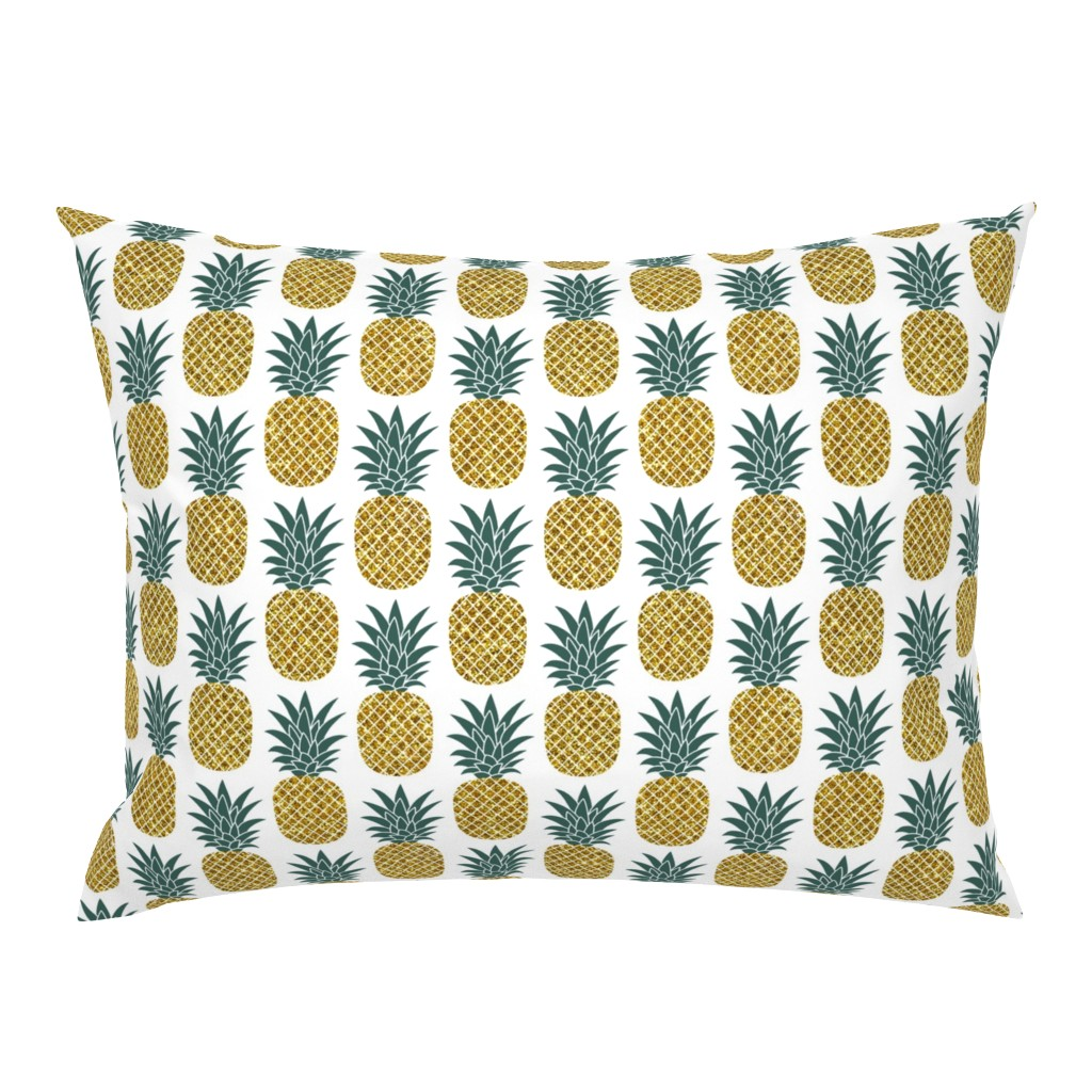 Campine Pillow Sham featuring gold glitter pineapples – gold and jungle green on white, medium. pineapples faux gold imitation tropical white background hot summer fruits shimmering metal effect texture fabric wallpaper giftwrap by mirabelleprint