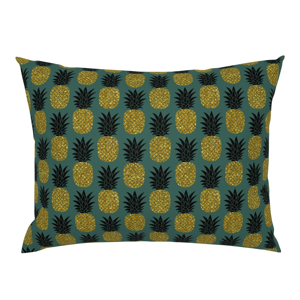 Campine Pillow Sham featuring gold glitter pineapples – gold and black on jungle green, medium. pineapples faux gold imitation tropical green background hot summer fruits shimmering metal effect texture fabric wallpaper giftwrap by mirabelleprint