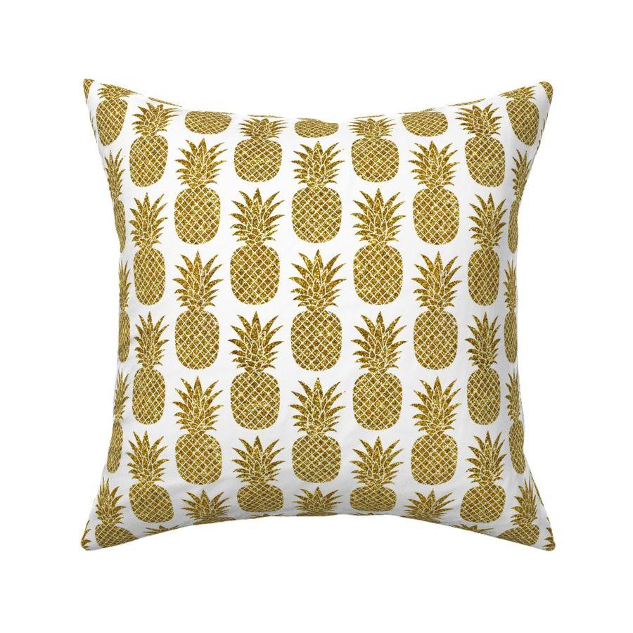 Gold Glitter Pineapples White Small Spoonflower