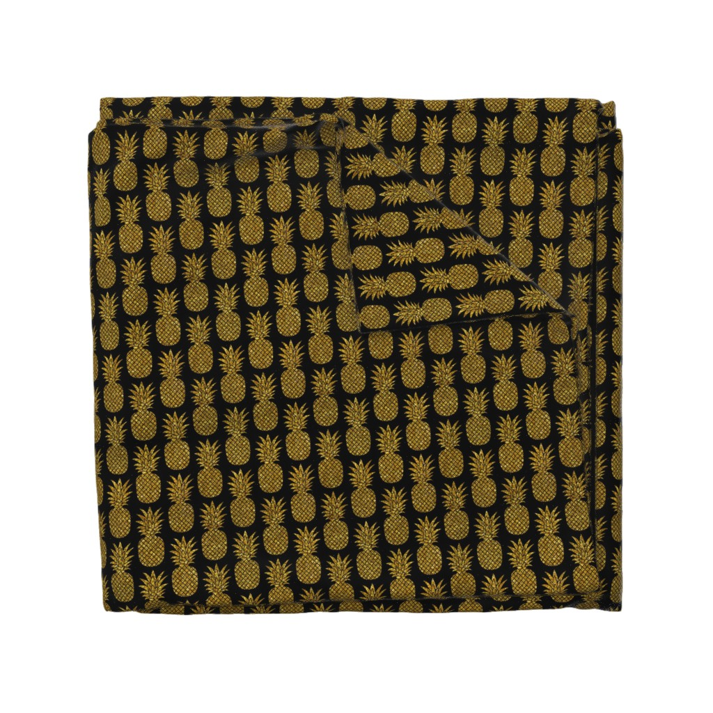 Wyandotte Duvet Cover featuring gold glitter pineapples – black, small. pineapples faux gold imitation tropical black background hot summer fruits shimmering metal effect texture fabric wallpaper giftwrap by mirabelleprint