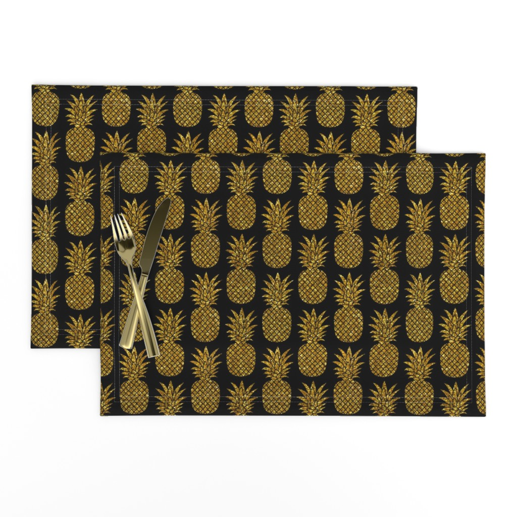 Lamona Cloth Placemats featuring gold glitter pineapples – black, small. pineapples faux gold imitation tropical black background hot summer fruits shimmering metal effect texture fabric wallpaper giftwrap by mirabelleprint