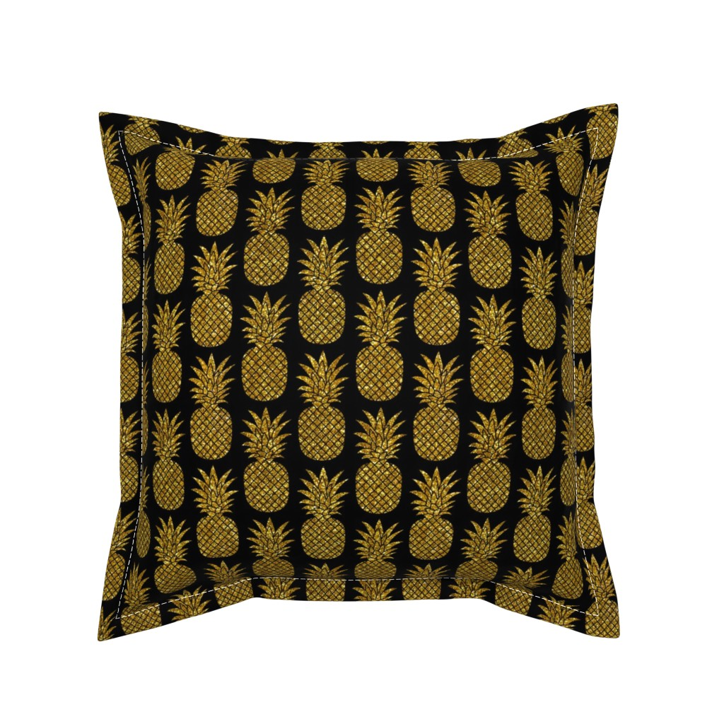 Serama Throw Pillow featuring gold glitter pineapples – black, small. pineapples faux gold imitation tropical black background hot summer fruits shimmering metal effect texture fabric wallpaper giftwrap by mirabelleprint