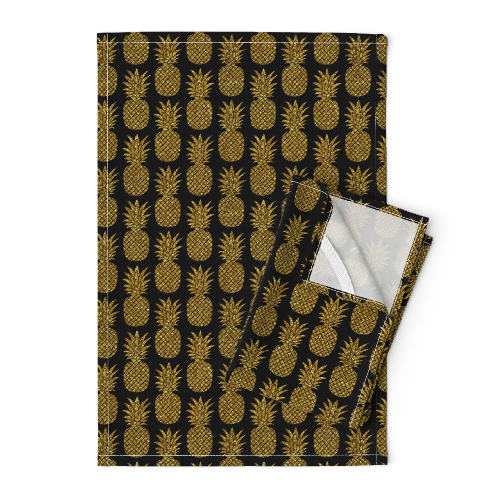 Orpington Tea Towels featuring gold glitter pineapples – black, small. pineapples faux gold imitation tropical black background hot summer fruits shimmering metal effect texture fabric wallpaper giftwrap by mirabelleprint
