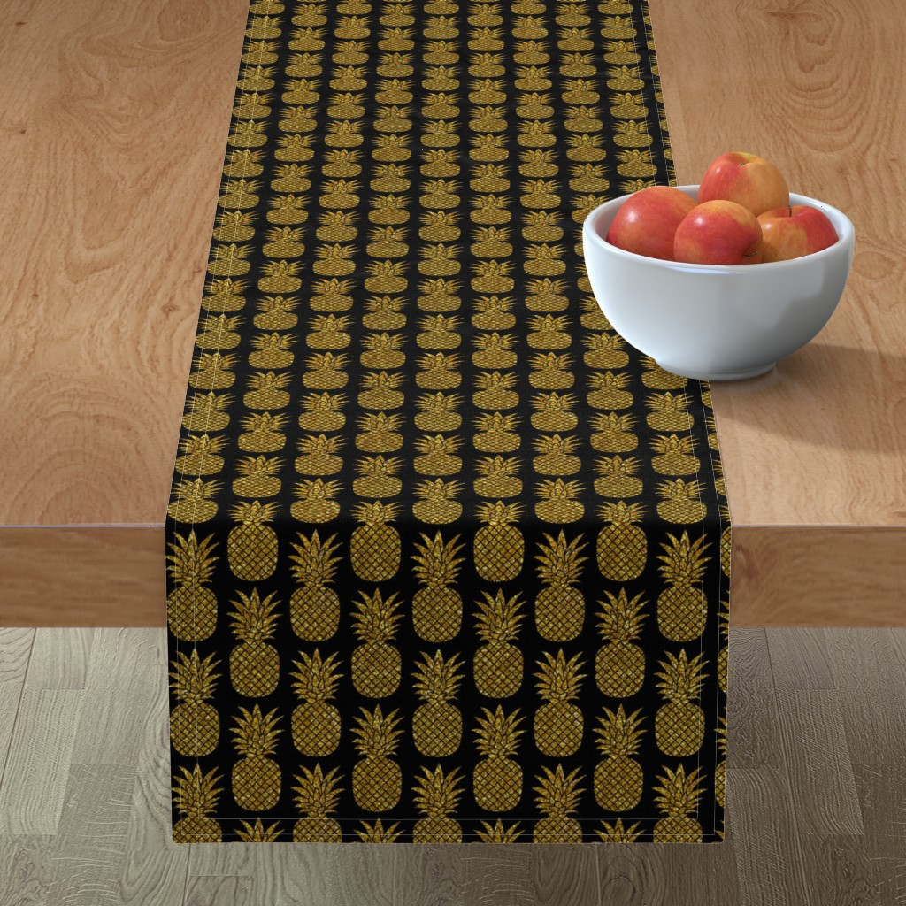 Minorca Table Runner featuring gold glitter pineapples – black, small. pineapples faux gold imitation tropical black background hot summer fruits shimmering metal effect texture fabric wallpaper giftwrap by mirabelleprint