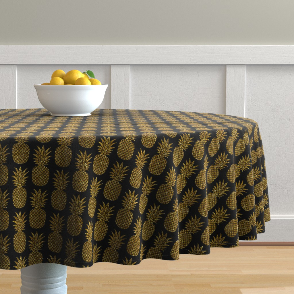 Malay Round Tablecloth featuring gold glitter pineapples – black, small. pineapples faux gold imitation tropical black background hot summer fruits shimmering metal effect texture fabric wallpaper giftwrap by mirabelleprint