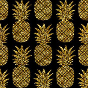 gold glitter pineapples – black, small. pineapples faux gold imitation tropical black background hot summer fruits shimmering metal effect texture fabric wallpaper giftwrap