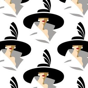 lady with large hat - white