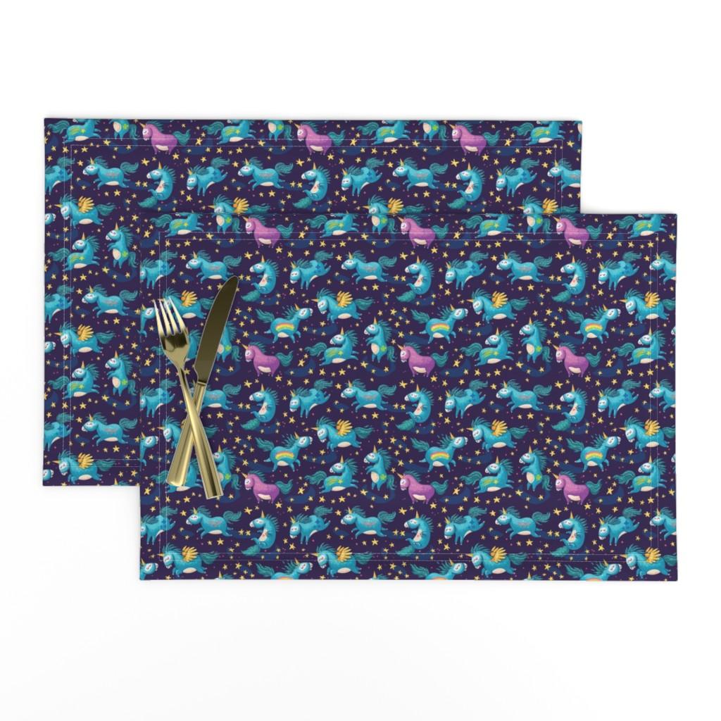 Lamona Cloth Placemats featuring Unicorn Magic small by penguinhouse