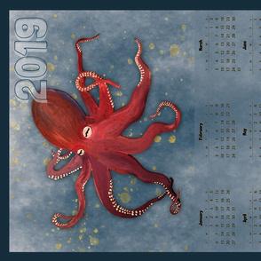 Vertical Red Octopus Calendar - 2019