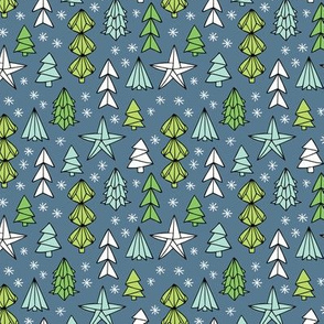 Christmas trees and origami decoration stars seasonal geometric december holiday design green blue night SMALL