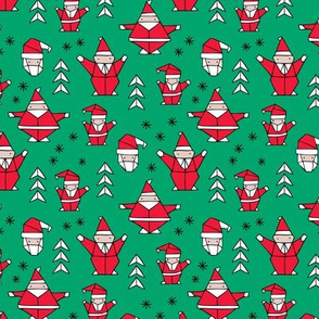 Origami decoration stars seasonal geometric december holiday and santa claus print design red green SMALL