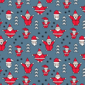 Origami decoration stars seasonal geometric december holiday and santa claus print design red blue SMALL