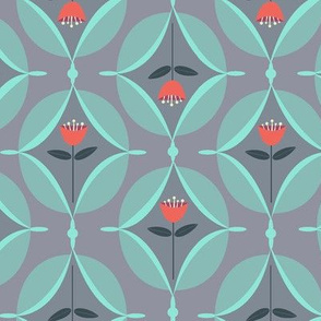 mod tulip - gray and red