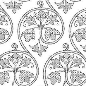 Detailed Elizabethan Scrolling Floral Blackwork