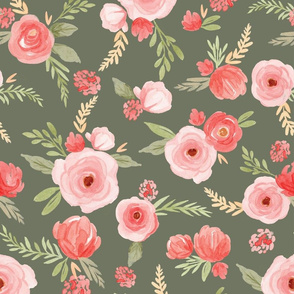 Coral Floral pattern on green