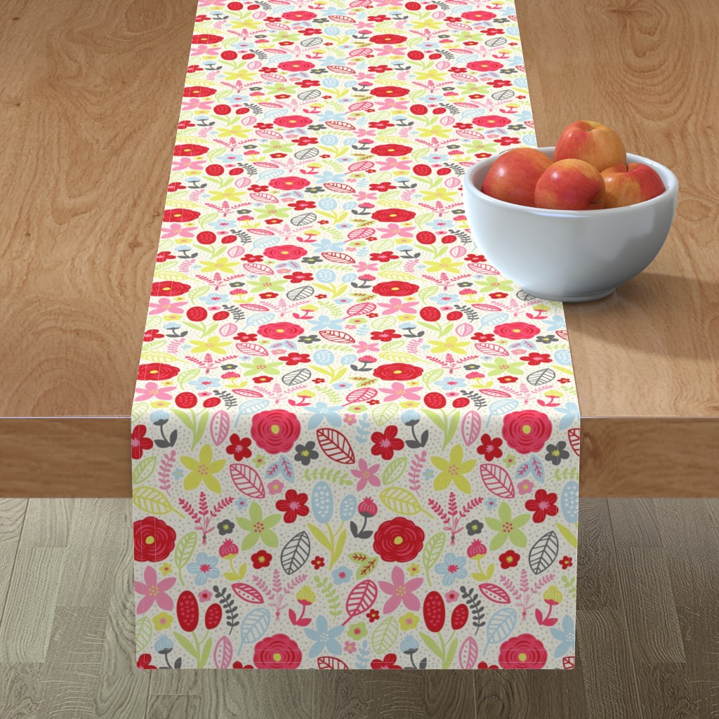 Minorca Table Runner featuring Summer Floral Red Pink by bethschneider
