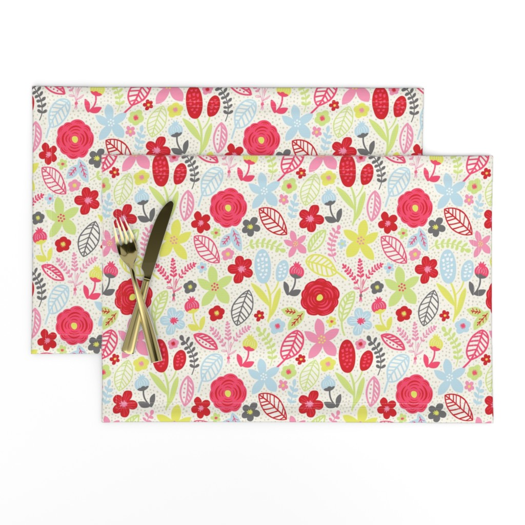 Lamona Cloth Placemats featuring Summer Floral Red Pink by bethschneider