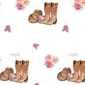 """4"""" Cowgirl Floral Boots & Hat"""